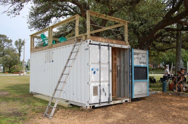"""""""Enjoy the Little Things"""" shipping container tiny home - Slide 1"""