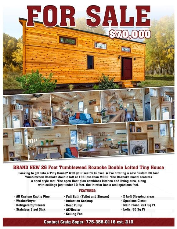 BRAND NEW 26-Foot Tumbleweed Roanoke Double Lofted Tiny House - Slide 2