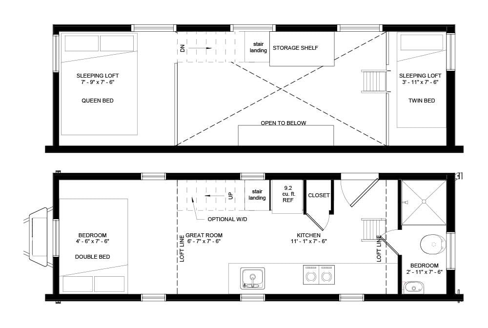 BRAND NEW 26-Foot Tumbleweed Roanoke Double Lofted Tiny House - Slide 3