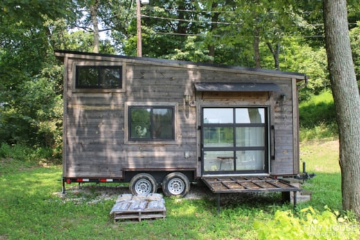 Modern Tiny Living Wood Panel Tiny House, Furnished w Garage Door & Solar Panels