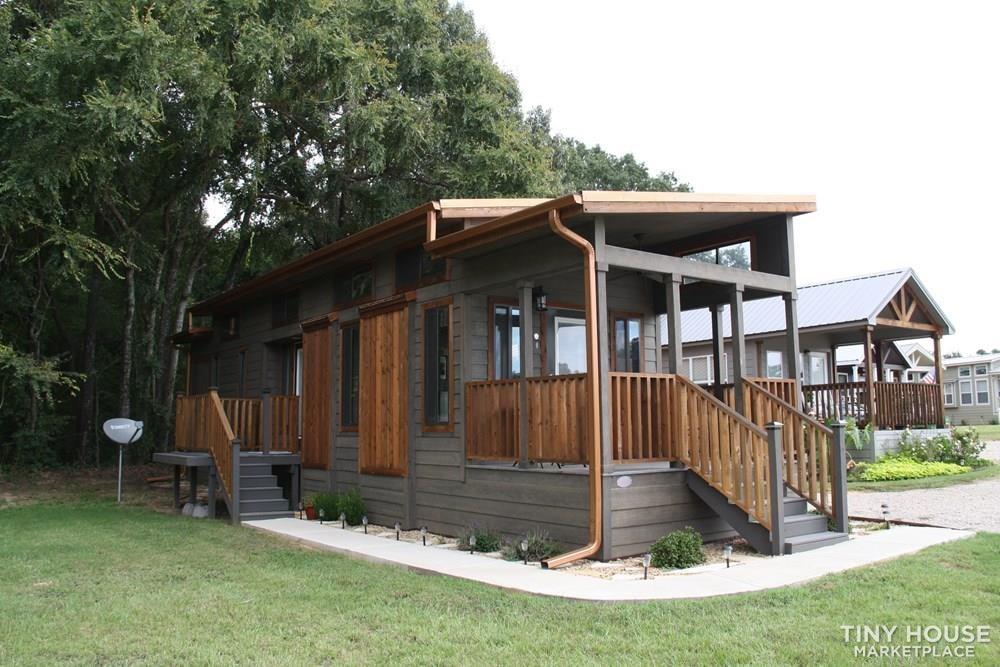 Stunning Rustic Park Model Home w/Carport and Storage at Vintage Grace Texas - Slide 1